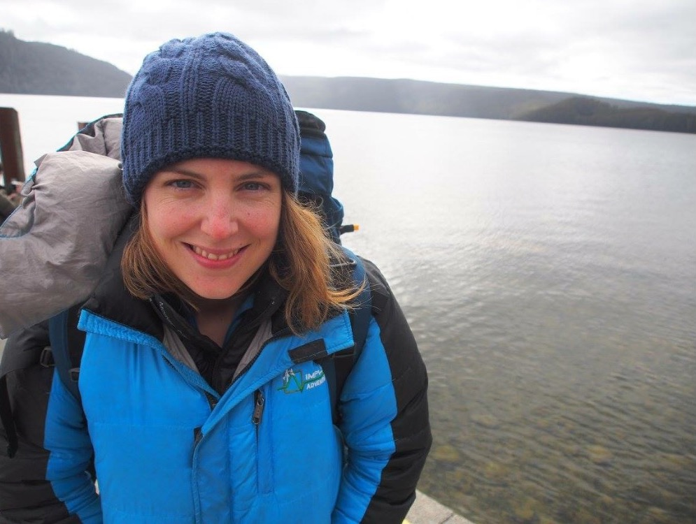 Sam at lake st claire after trekking the overland track